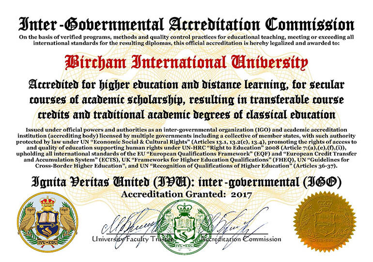 Bircham University IVU IGO - Ignita Veritas United Inter-Governmental Organization